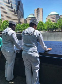 united states soldiers looking over the edge of ground zero