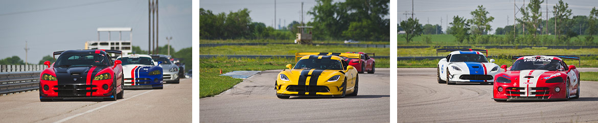 dodge vipers driving around a race track