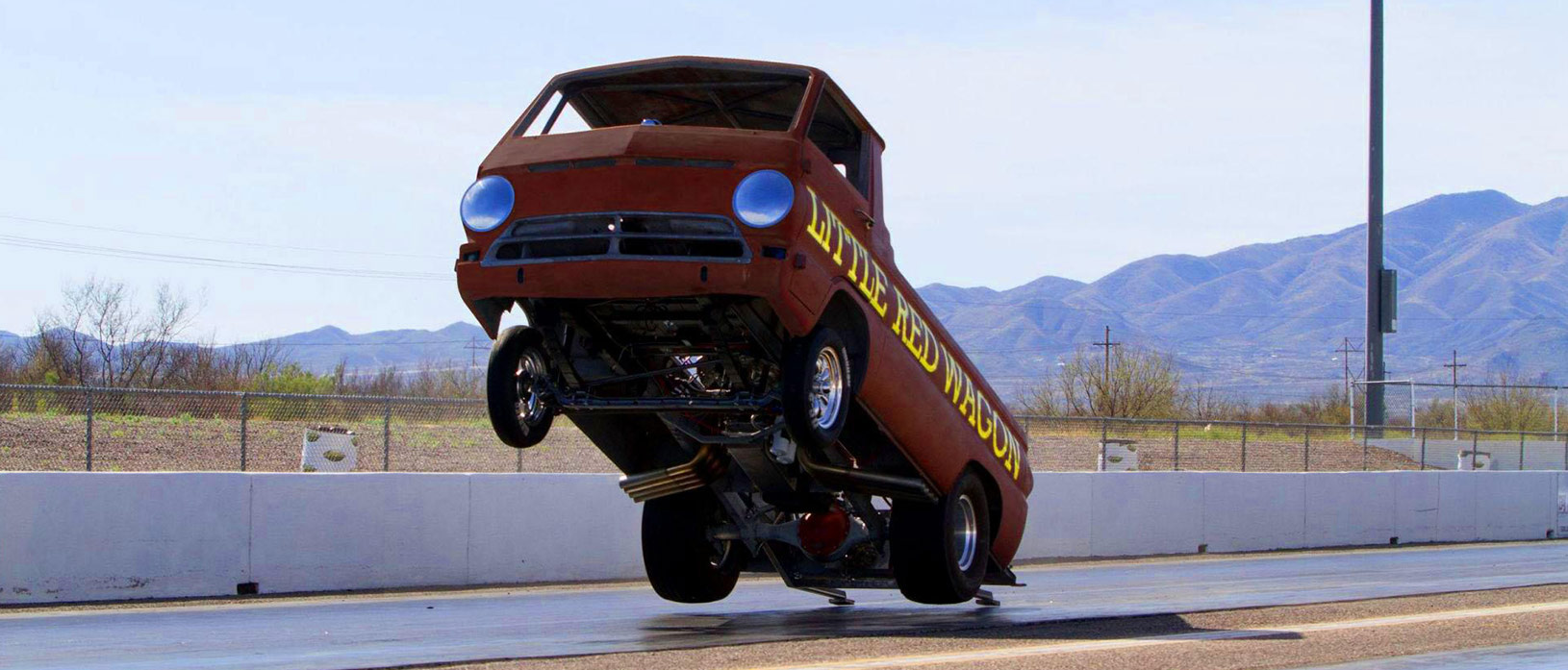 The Dodge little red waggon off all four wheels.