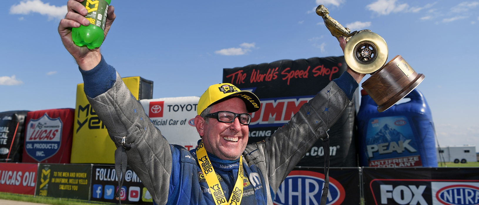 Tommy Johnson Jr. celebrating his win at the NHRA Route 66 Nationals