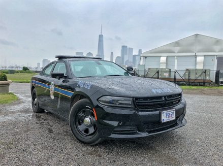 a dodge police car with the city skyline in the background