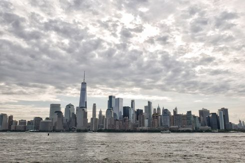 the new york city skyline over the hudson river