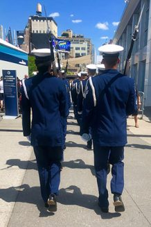 lines of united states soldiers walking