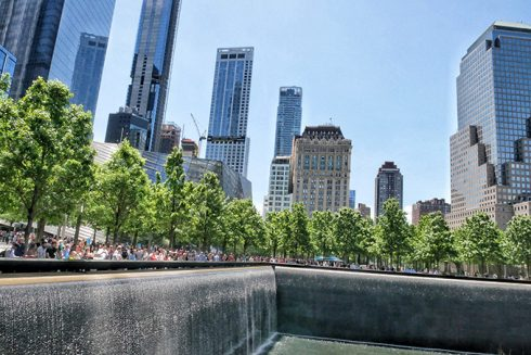 the city skyline behind ground zero