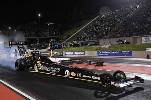 leah pritchett's top fuel dragster at the starting line