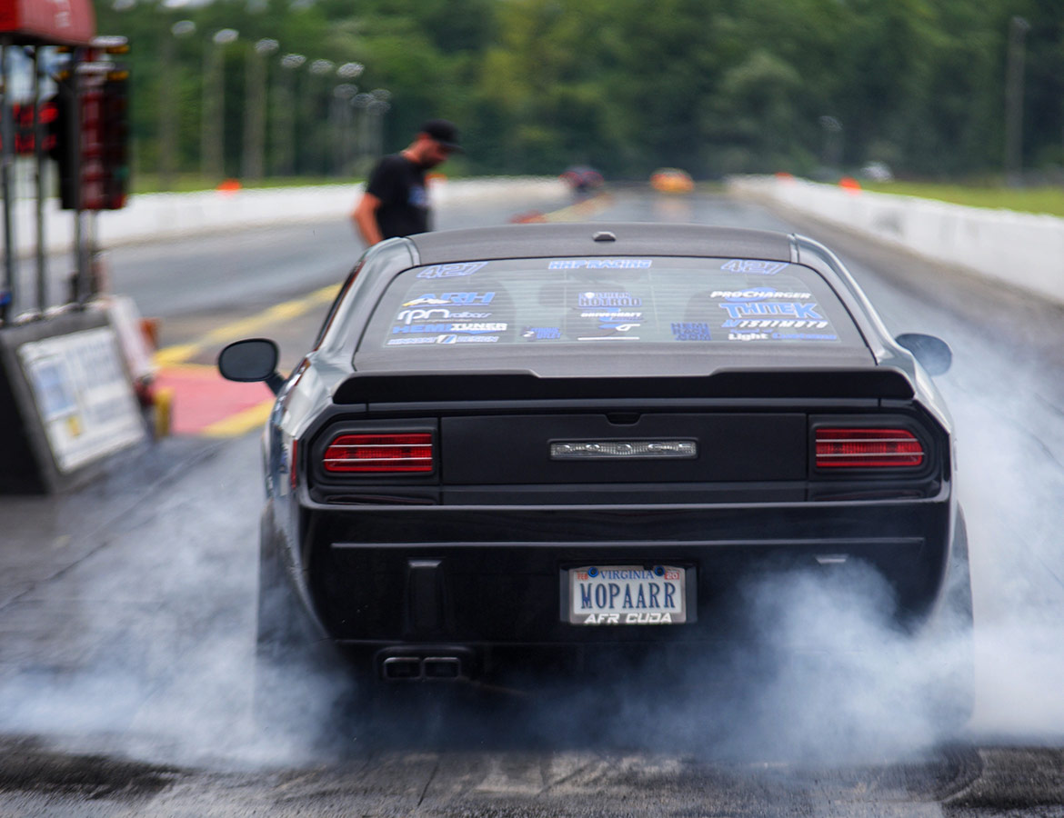 2013 Dodge Challenger R/T Classic on the starting line of a drag strip