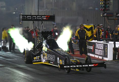 leah pritchett's top fuel dragster coming off the starting line