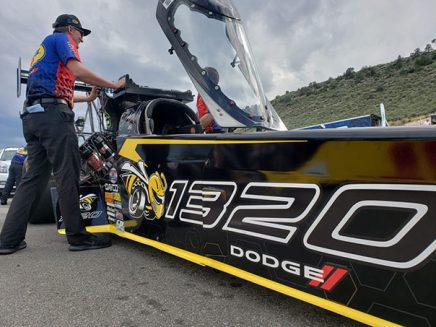 leah pritchett's top fuel dragster being transported