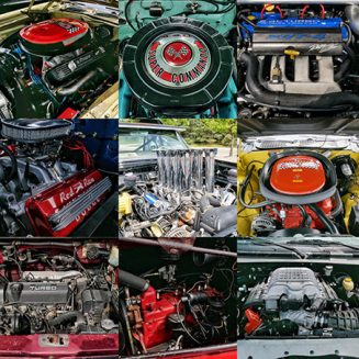 a collection of vehicle engines