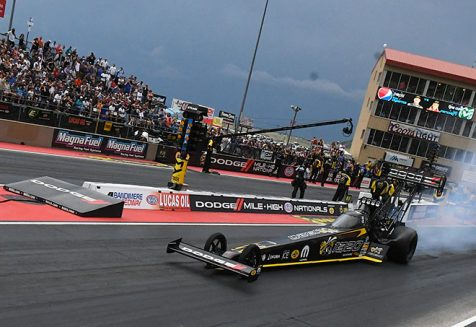 leah pritchett's top fuel dragster on the starting line