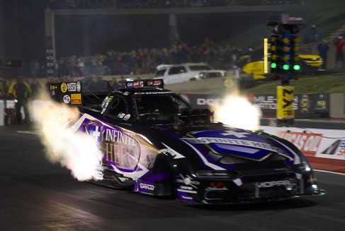 jack beckman's funny car coming off the starting line