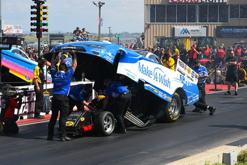 funny car being prepped for race