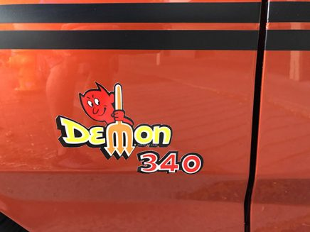 demon decal on a vehicle