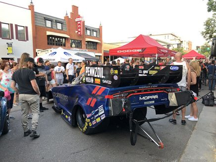 crowd looking at matt hagan's 2020 dodge charger srt hellcat widebody funny car