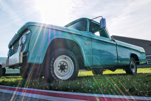 a team blue dodge pickup truck