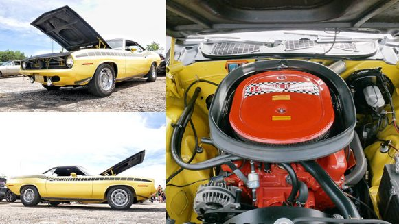a yellow vehicle and it's engine
