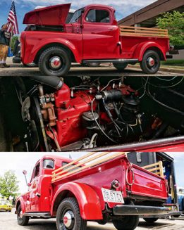 a red vehicle and its engine