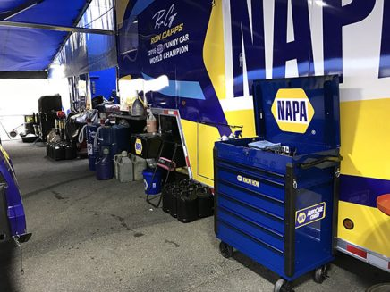 tools and vehicle parts inside ron capps' pit area