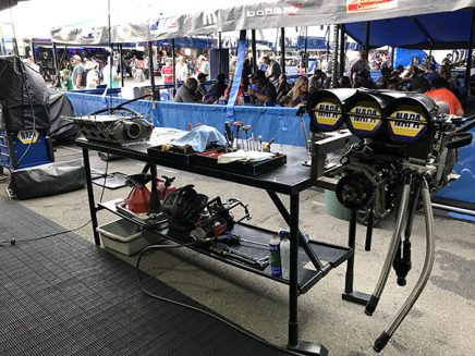 tools and vehicle parts inside ron capps' trailer