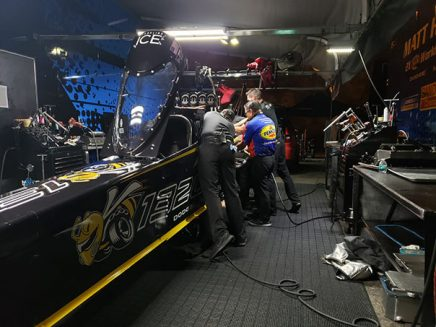 crew team working on leah pritchett's top fuel dragster