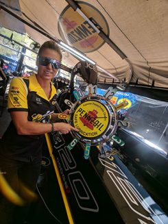 leah pritchett with a pennzoil sign