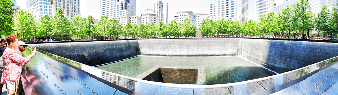 ground zero with the city skyline in the background