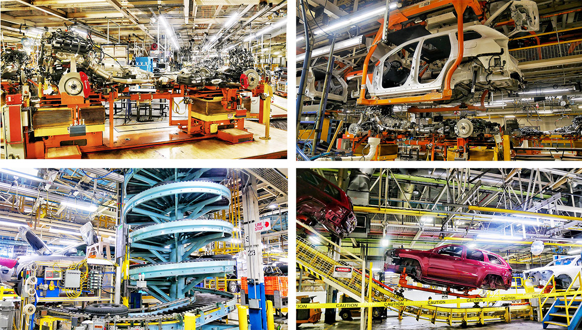 vehicles in an assembly plant