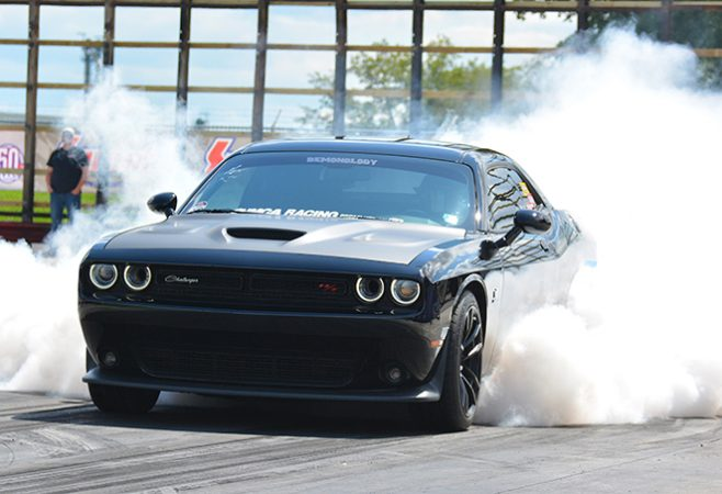dodge vehicle doing a burnout