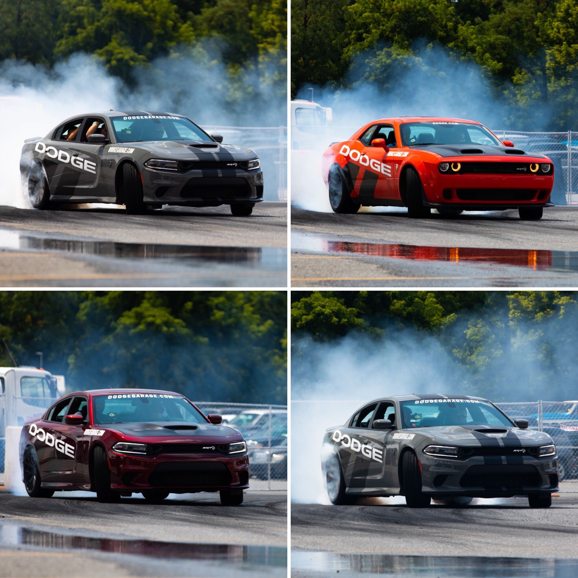 dodge vehicles drifting on a track
