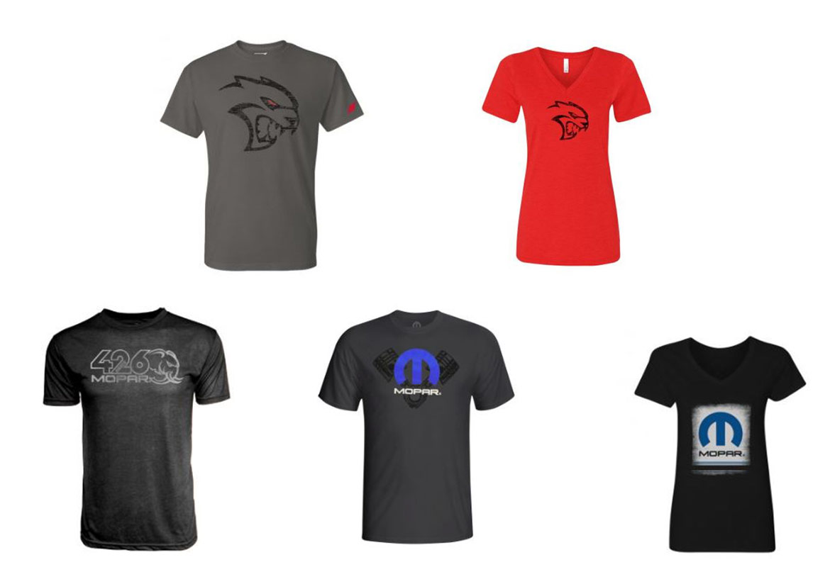 five t-shirt options