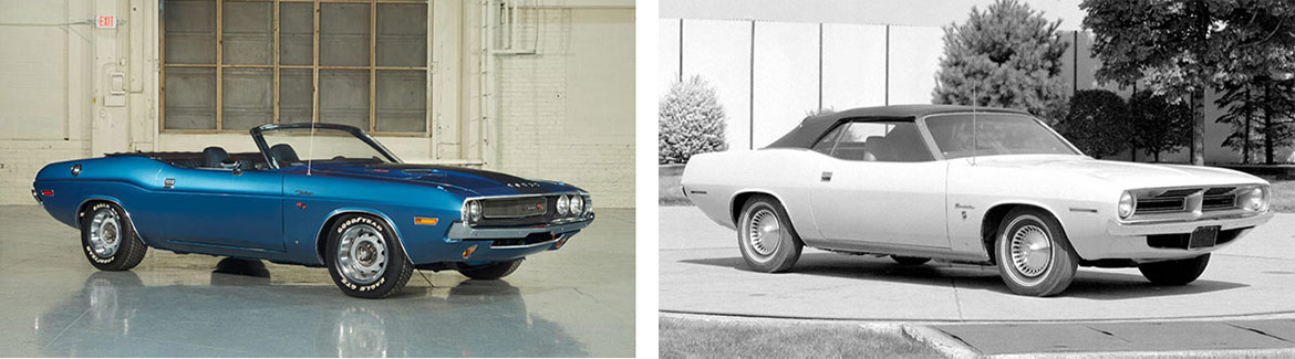 1970 Dodge Challenger R/T Convertible and 1970 Plymouth Barracuda Convertible