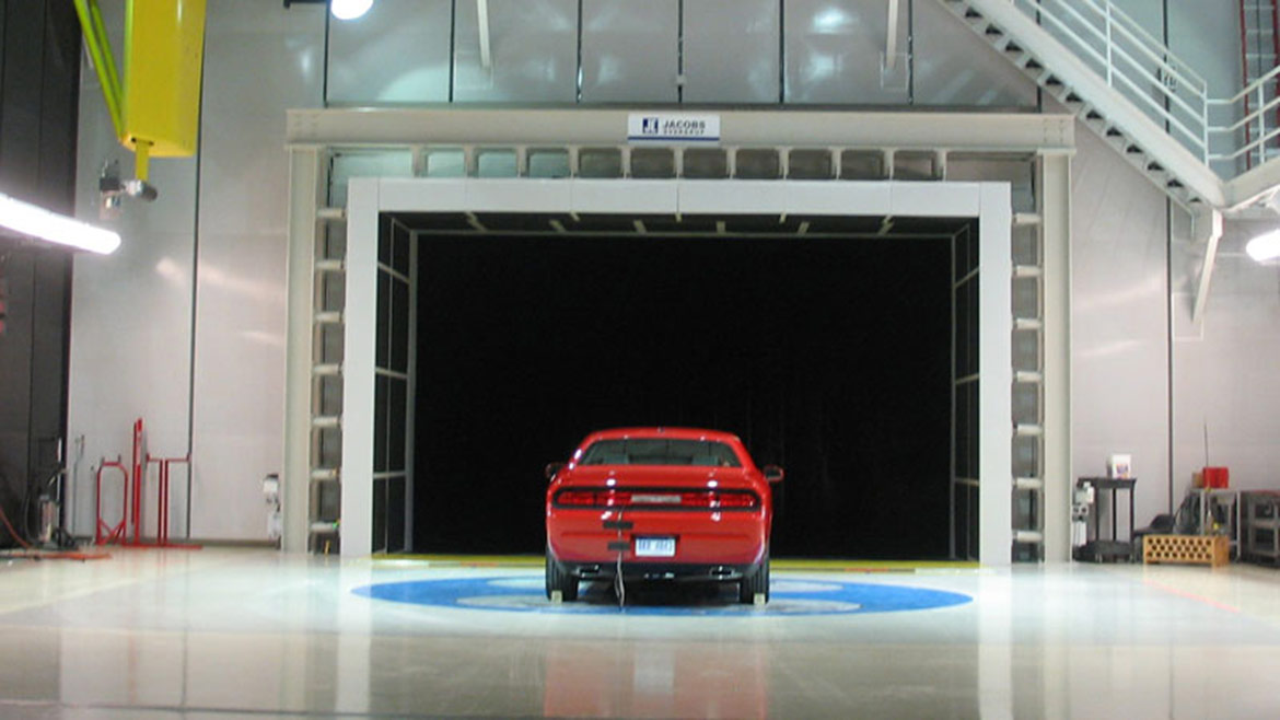 dodge vehicle in a tunnel
