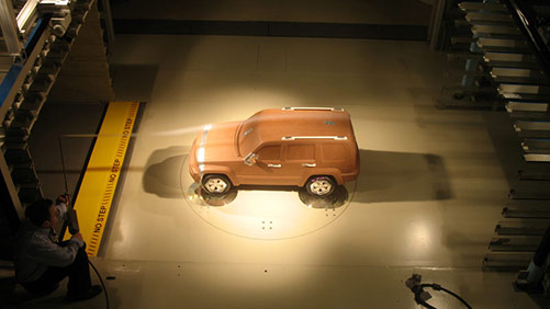 dodge vehicle in wind tunnel