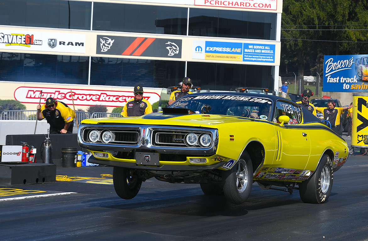 dodge vehicle on two wheels