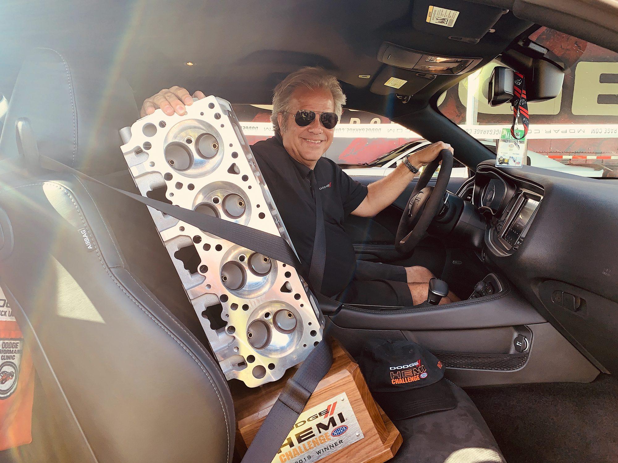 David Hakim with the dodge hemi challenge trophy