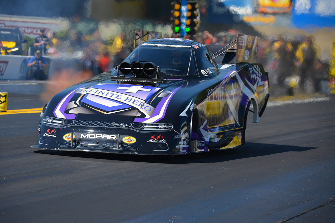 Jack Beckman's Funny Car on the drag strip