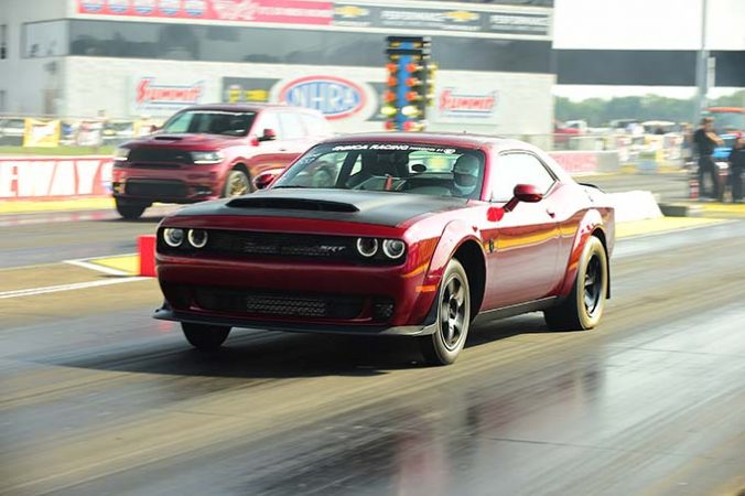 dodge vehicle on the drag strip
