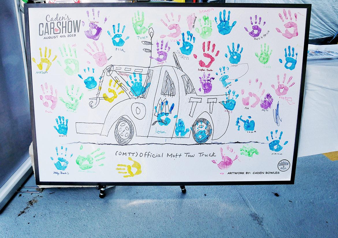 childrens' handprints on a sign