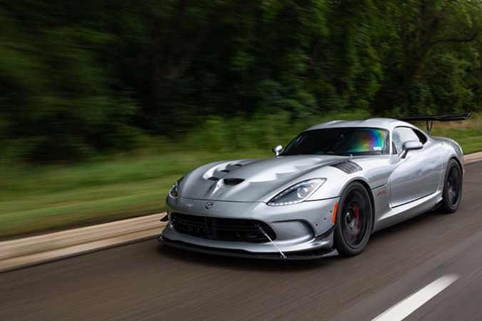 Dodge Viper ACR-e driving down the road