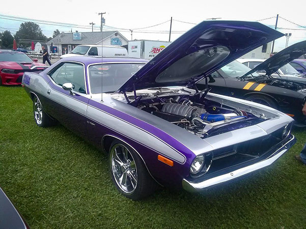 dodge vehicle with the hood open