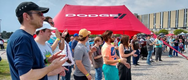 crowd at a dodge brand display