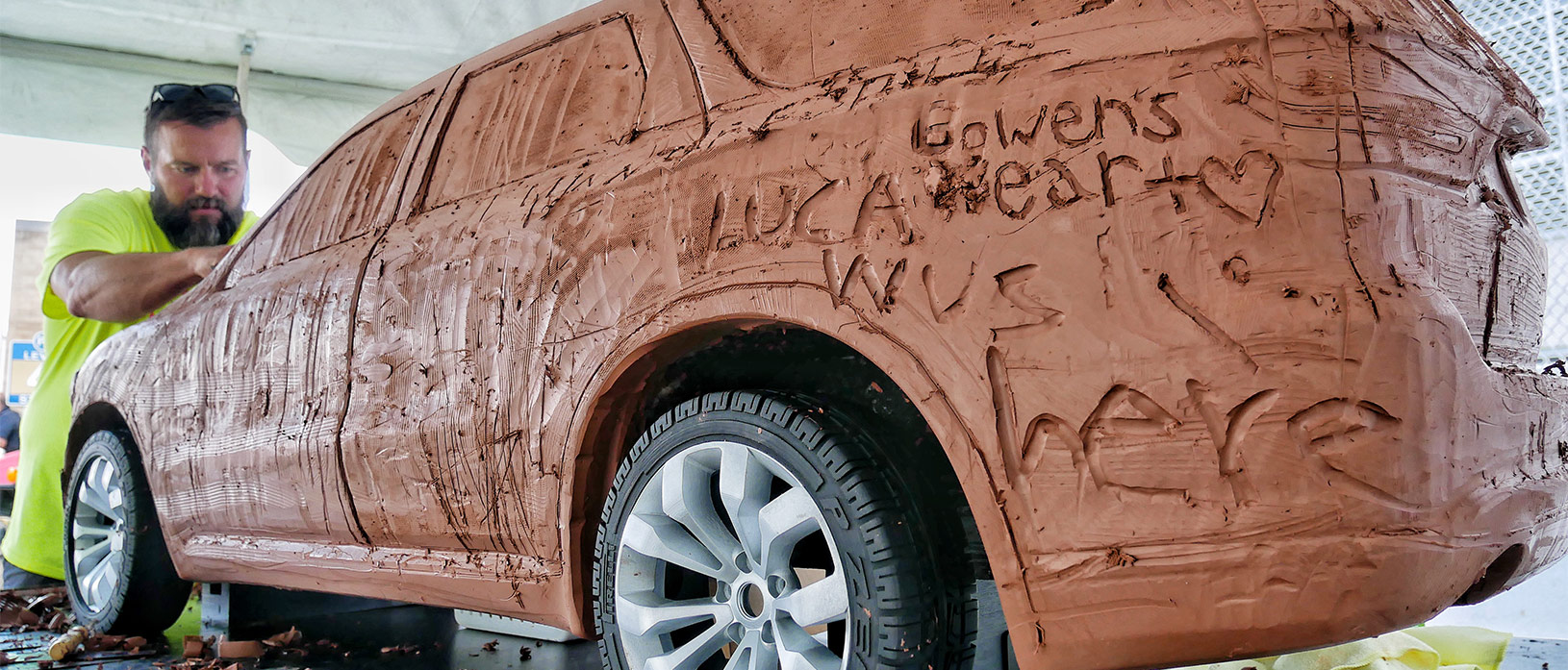 clay car being sculpted