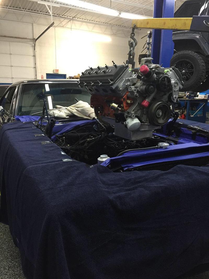 HEMI engine being installed
