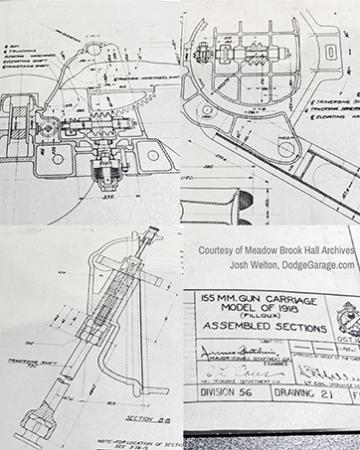 Blueprints of 155mm GPF transversing mechanism
