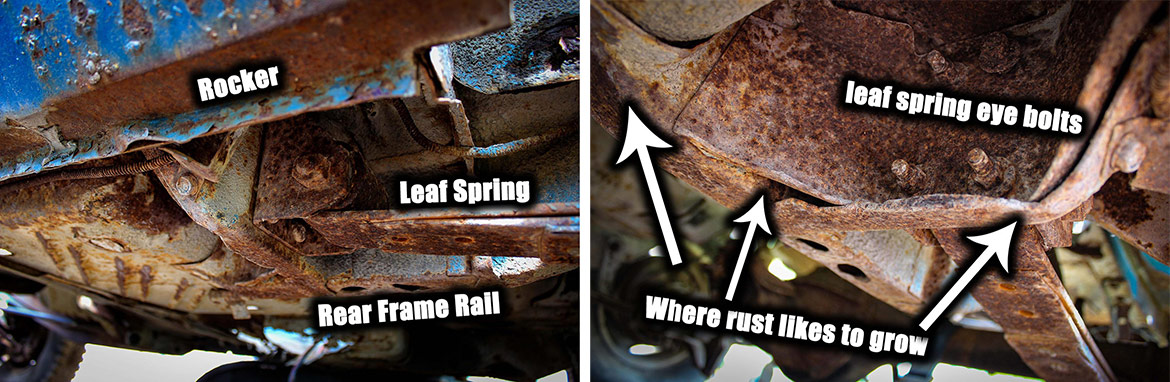 decrepit plymouth vehicle frame