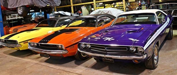 dodge vehicles in a garage