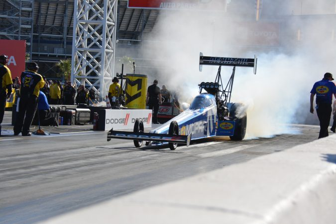 top fuel dragster coming off the starting line