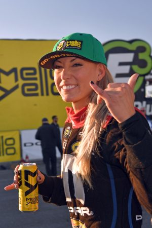 leah pritchett drinking a mello yello
