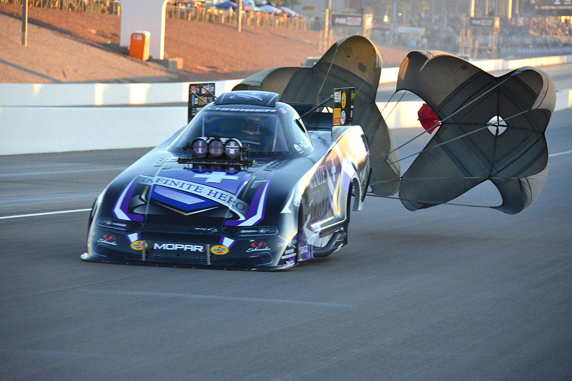 jack beckman's funny car deploying parachutes
