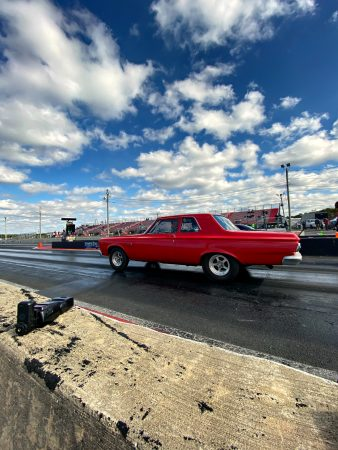 dodge vehicle on a drag strip
